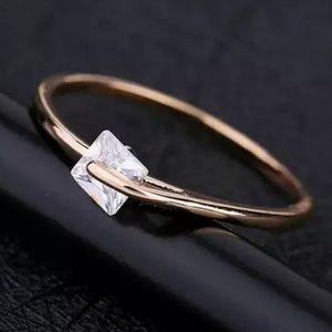 Dainty Rose Gold Square Rotating Diamond Ring